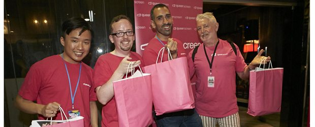 Cillin, Joe, Roy and Ron handing out party bags.