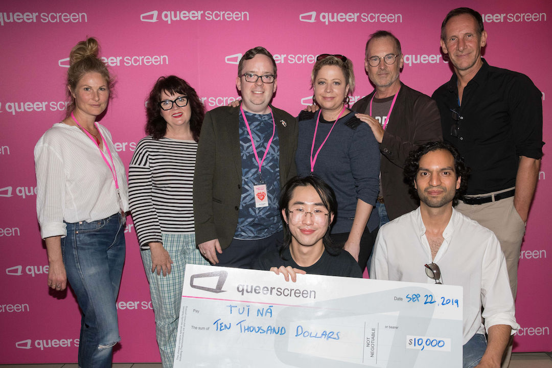 Pitch Off 2019 winner William Dunn (centre) with the Pitch Off judges and Queer Screen co-chairs