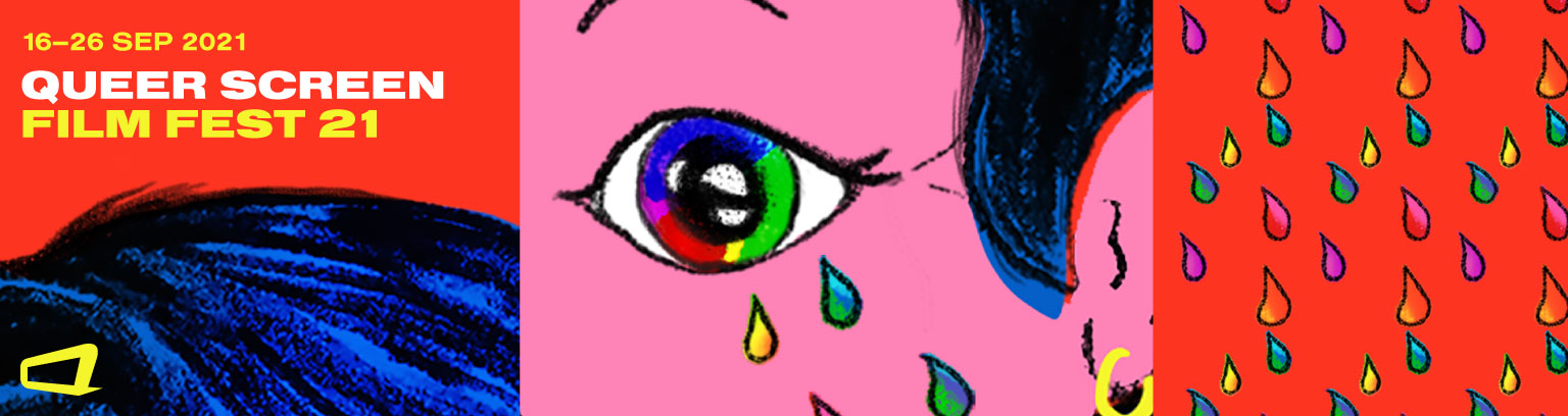 graphic branding for QSFF21 - illustration of woman with rainbow tears