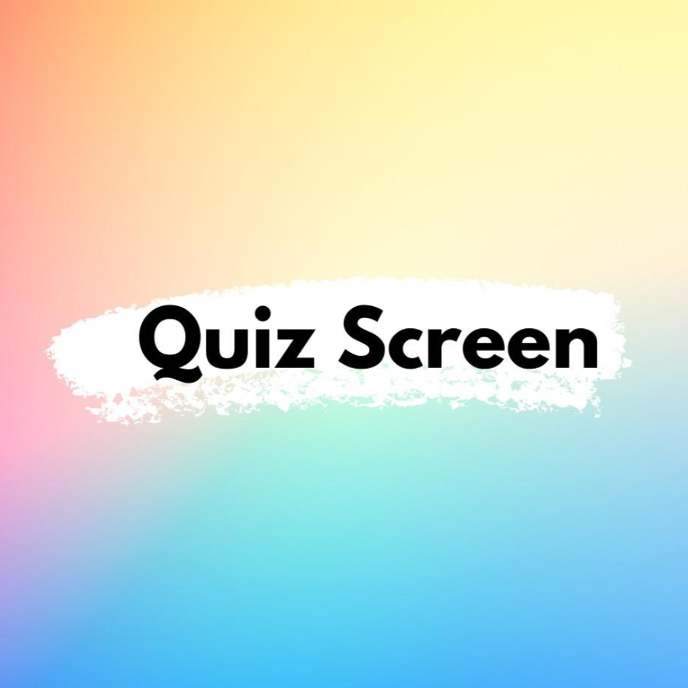 graphic branding for QSFF21 trivia night featuring a soft gradient rainbow coloured background with Quiz Screen centred text overlaid